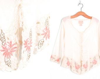 Sheer Floral Blouse * Embroidered 90s Shirt * Vintage Renaissance Fair Blouse * Medium