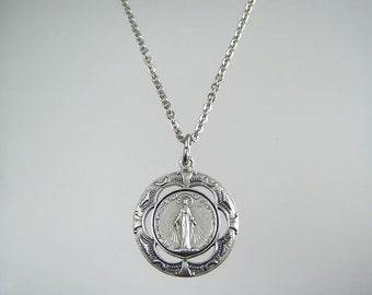 Beautiful Large Round Miraculous Medal Necklace
