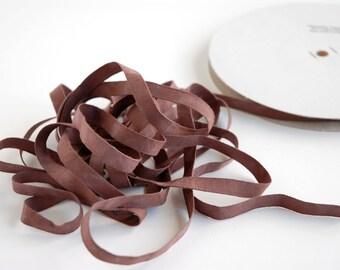 Organic Cotton Ribbon - Thin Soft Matte Brown