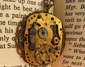 SALE 30% OFF Steampunk Clockwork Anatomical Heart Necklace - strega, dark mori witch jewelry