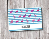 FLAMINGO Design THANKYOU Card, Instant Download Thank you, Kids, Birthday, Bridal Shower, Engagement, Party, 6x4 Children's Thank you Card