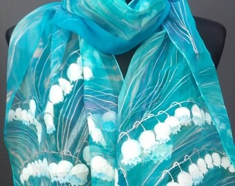 """Lily of the Valley hand painted silk chiffon long scarf. Turquoise, mint green silk shawl. Artists scarf 18"""" x 71"""", birthday gift for her"""