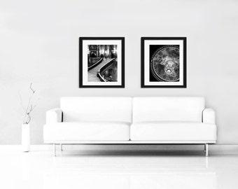 Paris Print Set, Black and White Photography, The Opera - Paris Chandelier Wall Art Paris Decor