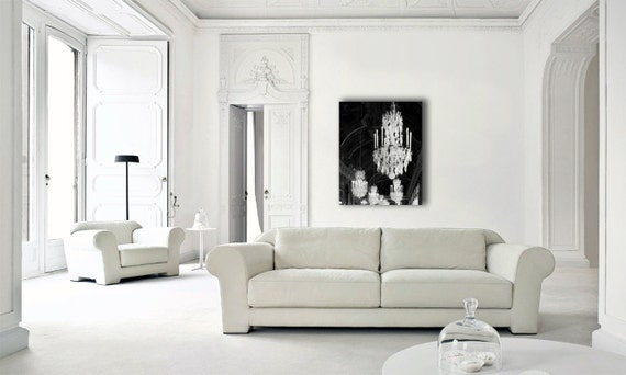 Chandelier Print on Canvas, Large Wall Art, Versailles, Black and White Chandelier Wall Art Canvas