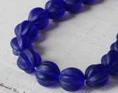 Frosted Glass Beads - Sea Glass Beads 10mm Melon Bead - Jewelry Making Supply - Matte Cobalt Blue (20 pieces)