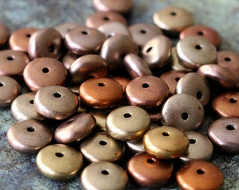 6mm Rondelle Beads - Czech Glass Beads - Metallic Gold Iris Matte Saucer Beads - Jewelry Making Supply  (100 or 50 beads)