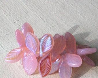 Czech Glass Leaf Beads - Jewelry Making Supply - Czech Glass Beads - 6x13mm (25 Pieces) Milky Pink Rosaline AB