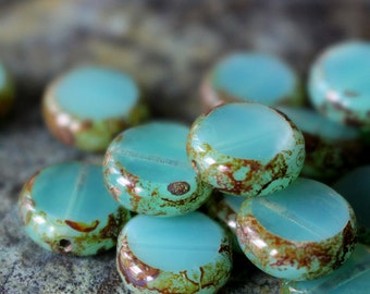 11mm Coin Beads - Jewelry Making Supply - Opaline Seafoam With Picasso edges - Czech Glass Beads - Choose Amount