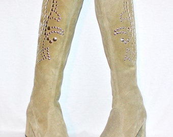 Vintage 60's Boots Studded Suede Silver Go-Go Boots 10