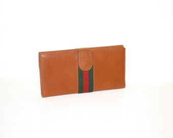 GUCCI Vintage Brown Leather Web Wallet Coin Clutch - AUTHENTIC -