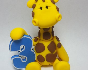 birthday giraffe figure and cake topper