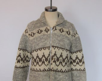 Vintage Cowichan Sweater Native  Pacific Northwest Handmade