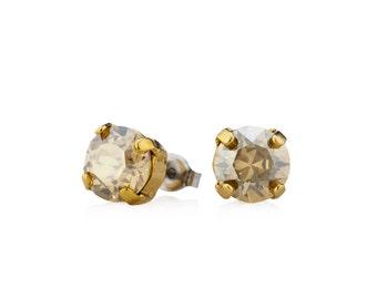SWAROVSKI STUDS • Large Gold Stud Earrings • Swarovski Crystal Earrings • Gold Earrings • Stud Earrings • Lightweight Earrings • Crystal