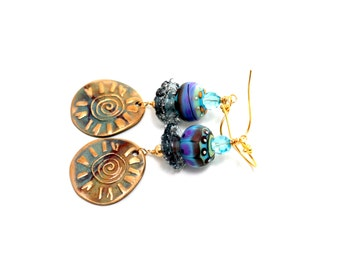 Colorful Tribal Glass Bead Earrings. Tribal Boho Gypsy Lampwork Earrings. Metal Clay Charms. Long Boho Dangle Earrings. Lampwork Jewelry.