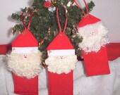Red Felt Santa Tree Ornaments, Christmas Ornament Sets, Three Santa Ornaments, Handmade Santa Tree Hangers, Santa Handmade Ornament Set