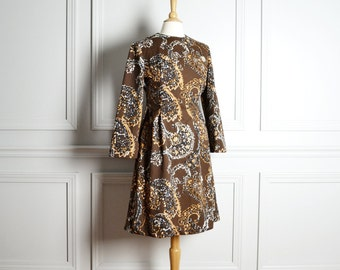 SALE Dress A Line / Brown Paisley / Bell Sleeves / Fall Mod Go Go / 60s Vintage / Medium M