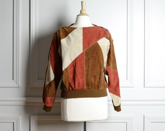 SALE / Top Jacket Patchwork / Suede Whiskey Brown Rust Leather / Pullover / Geometric Avant Garde / 70s Vintage / Small S Medium M