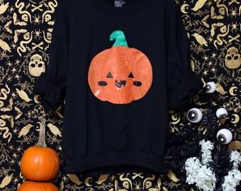 Holographic Kawaii Jack-O-Lantern Halloween Special Edition Oversized Sweatshirt