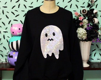Holographic Uneasy Ghost Spoopy Halloween Special Edition Oversized Sweatshirt
