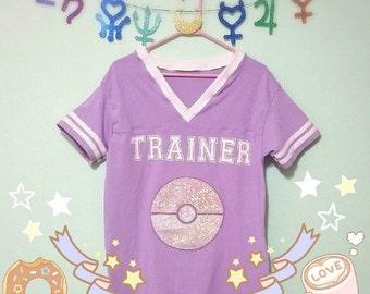 Pokemon Inspired Cosplay Fashion Jersey Football Top - Holographic Pokeball Sizes XS-4X