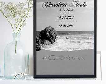 PERSONALIZED ADOPTION ART Gift - Personalized Adoption Gift- Never Alone Gift - New Gift - Adoption Announcement-Never Alone