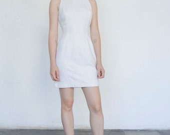 Vintage Daisy Flower 1990's Mod White Cotton Sleeveless Shell Mini Dress S/M