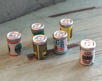 Miniature Beer Cans by Timeless Minis 1/2 inch (1.27 cm) 6 pcs per package