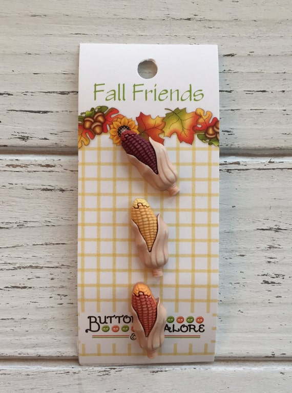 "Corn Buttons, Carded Set of 3 Buttons, Fall Friends Collection ""Indian Corn"" Style FA121 by Buttons Galore, Sewing, Crafting Buttons"