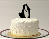 Kissing Silhouette Wedding Cake Topper Cake Topper Princess Style Dress Ball Gown Bride and Groom Wedding Cake Topper Bride Vintage Style