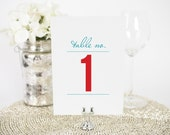 """Wedding Table Numbers - 5x7"""", Any Color - Contemporary Stack Design - Decorative, Party Decoration, Script"""