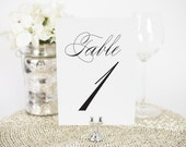 """Script Elegance Wedding Table Numbers - 4x6"""", Any Color - Decorative, Party Decoration, Script"""