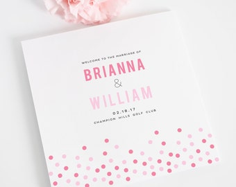 Confetti Wedding Program - Trifold Wedding Program - Modern with Dots, Confetti - Purchase this Deposit to Get Started