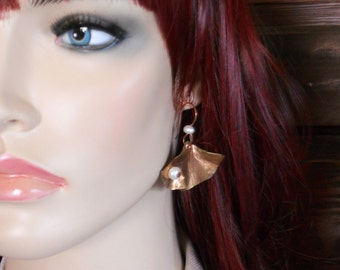 Metalwork Earrings Hammered Red Brass Ginkgo Leaves with Riveted White Cultured Freshwater Pearls on Handmade Copper Ear Wires E0808
