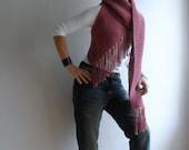 Womens Vest Scarf, Multifunctional Vest Scarf Hood, Boho Vest, Fringe Vest Scarf in Pink, Winter Vest Scarf, Christmas Gift