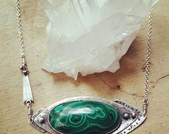 HANDMADE// Green Malachite Bezel Set Sterling Silver Necklace -Oxidized Silver