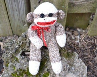 Baby Sock Monkey Doll with Option for Child Friendly Eyes, Miniature Sock Monkey