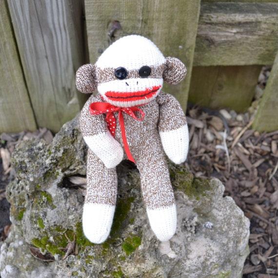 Baby Sock Monkey Doll with Option for Child Friendly Eyes, Miniature Sock Monkey