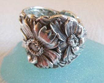 Antique Spoon Ring  Floral  Sterling Silver  Size 8