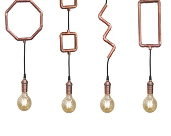 Industrial Copper Pipe Pendant Light Unique Modern Geometric Pendant Light Fixture