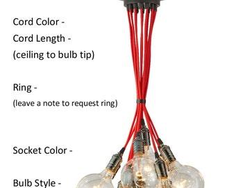 14 Pendant Light Cluster - Custom Any Colors  Multi Pendant Chandelier Lighting Industrial hanging fixture