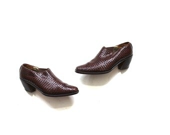Vintage Ankle Boots 7.5 / Woven Ankle Booties / Italian Leather Boots
