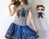 Cute Doctors Skirt- Custom designed fabric, custom made, cotton print, Doctor Who inspired