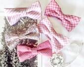 Wedding Set of 5 Pink Men's Bow Ties, Groomsmen Bow Ties, Mismatched Wedding Bow Ties