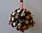 Wedding Kissing Ball - Vineyard, Mantle Decoration, Christmas Pomander, Holiday Wreath - Wine Corks, Spanish Moss, and Berries