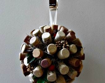 Wine Cork Pomander / Kissing Ball - Gold, Silver and Red Berries,Spanish Moss, Ivy Leaves - Wedding, Christmas, HolidayWreath, Mantle Decor