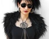 BLACK MONKEY FUR  shoulder wrap with beaded velvet ties