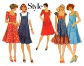 70s Vintage Sewing Pattern Style 1543 High Bodice Sun Dress Cap Sleeves Ruffled Hem Size 10 or 14 choose size