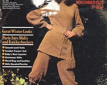 Vintage Stitchcraft Magazine Nov 1970 Knitting Crochet patterns Boho Crochet Pants Suit Knickerbockers Sweaters Kids Hooded Poncho Baby Men