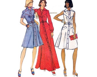 Vogue 8805 Shirtdress Maxi Dress 70s Vintage Sewing Pattern Size 12 Bust 34 inches