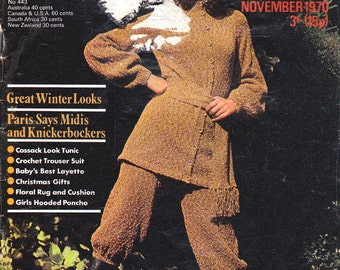 Vintage Stitchcraft Magazine Nov 1970 Knitting Crochet patterns Boho Crochet Pants Suit Knickerbockers Sweaters Kids Hooded Poncho Baby Men